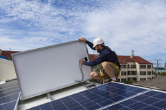 Solar panel technician Royalty Free Stock Images