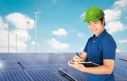 Solar panel technician stock images