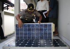 Solar panel theft Stock Image