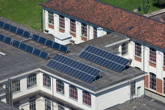 Solar panel on the top of the roof Royalty Free Stock Photos