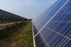 Solar panel tracking systems, Energy power in thailand.  Stock Photography