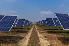 Solar panel tracking systems, Energy power in thailand.  Royalty Free Stock Photos