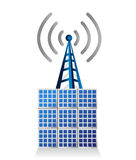Solar panel and wifi tower illustration Royalty Free Stock Photo