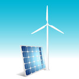 Solar panel and wind generator. Vector illustration Royalty Free Stock Images