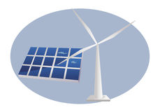 Solar panel and wind turbine Stock Image