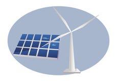 Solar panel and wind turbine Stock Image