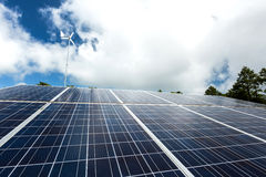 Solar panel and wind turbine Royalty Free Stock Images