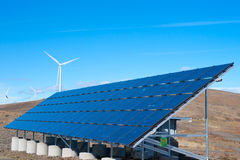 Solar panel and wind turbines Royalty Free Stock Photos