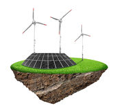 Solar panel and wind turbines Royalty Free Stock Photography