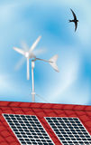 Solar panel and windmill Stock Photos