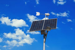 Solar panel and windmill Royalty Free Stock Photo