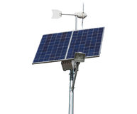 Solar panel and windmill Royalty Free Stock Images