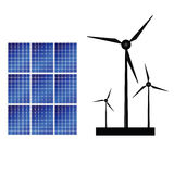 Solar panel and windmills for energy vector illustration Royalty Free Stock Photo