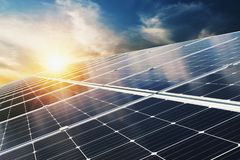 Free Solar Panel With Blue Sky And Sunset. Concept Clean Energy, Electric Alternative, Power In Nature Royalty Free Stock Images - 161037019