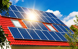 Solar Panel With Sun Stock Photography
