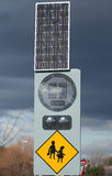 Solar panel at work. View of a solar panel used to power road signs Stock Images