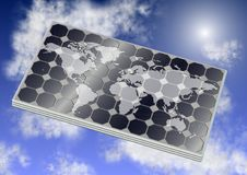 Solar panel and world Royalty Free Stock Images
