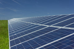 Solar Panels 1. Electric photovoltaic solar panels cells on a field Stock Photography