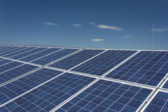 Solar Panels 10. Electric photovoltaic solar panels cells on a field Royalty Free Stock Photography