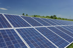 Solar Panels 11. Electric photovoltaic solar panels cells on a field Stock Photos