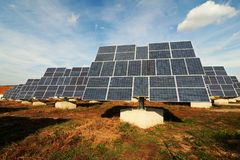 Solar panels. Tracking photovoltaic system stock images