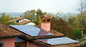 Solar Panels. Pitched roof with solar panels Stock Photo