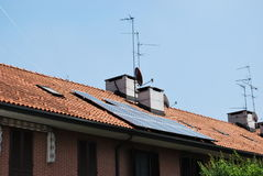 Solar panels. On the roof of a house Royalty Free Stock Photo
