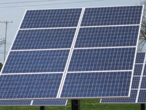 Solar Panels. Lined up to serve energy and power while conserving the earth's energy stock images