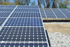 Solar panels. Rows of solar panels shown on a sunny day stock photo