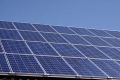 Solar Panels. Roof-mounted solar panels on a domestic house Royalty Free Stock Image