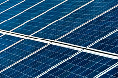 Solar panels. Close-up on large solar panels in photovoltaic park Stock Photos