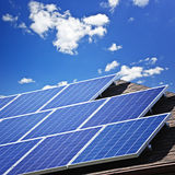 Solar panels. Array of alternative energy photovoltaic solar panels on roof