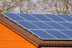 Solar panels. Some solar panels on the roof Royalty Free Stock Image