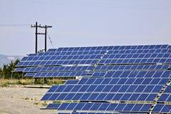 Solar panels. Ground installation of photovoltaic modules, solar panels stock photo