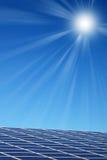 Solar panels. Solar panel illuminated by the sun Stock Photography