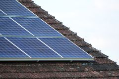 Solar panels. Close up of solar panels on a roof Stock Photo