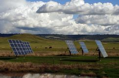 Solar Panels. In a pasture with cows and cloudy sky Royalty Free Stock Image
