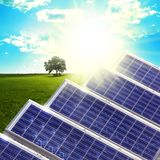Solar panels. New blue solar panels in the  nature Royalty Free Stock Images