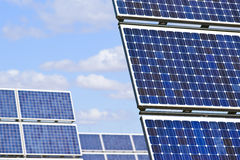 Solar panels. Field of solar cell panels royalty free stock image
