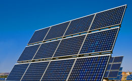 Solar panels. Field of solar cell panels stock image