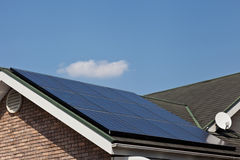 Solar panels. This is a picture of solar panels that are installed on the roof of the house Stock Images
