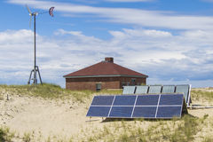 Solar panels. Used to power a ship warning horn near a lighthouse Royalty Free Stock Photography