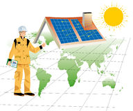 Solar panels. A construction worker with a house equipped with solar panels Stock Photos