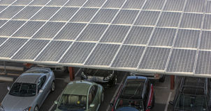 Solar Panels. On shade structure above parked cars Stock Photography
