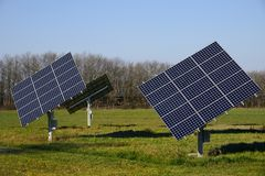 Solar Panels. Some bright solar panels in the nature Stock Photography