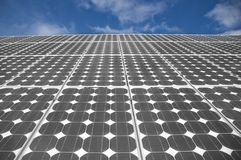 The Solar Panels 3. Closeup view of solar panels on a blue sky background Stock Image
