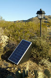 Solar Panels. Used in the desert to provide electricity for lighting in a parking lot Stock Images