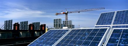Solar Panels. In a construction Stock Photography