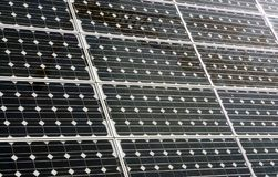 Solar Panels. Array of solar panels at an outdoor pavilion stock images