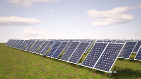 Solar panels. On green grass Royalty Free Stock Photo